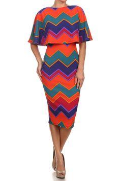 Caped Chevron Bodycon Dress