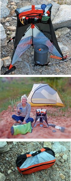 Patent Pending Cirque Backpack kitchen serves 4 purposes: Provides windscreen to increase stove efficiency reduce fuel consumption. Reduces chance of wind, people or pets spilling stove and pot. Organizes cooking necessities and keeps everything Camping Bedarf, Camping Gadgets, Camping Checklist, Camping Survival, Family Camping, Camping Hacks, Outdoor Camping, Camping Devon, Camping Store