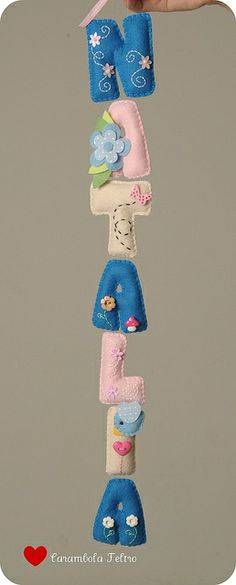 Girly Felt Name Banner by Carambola | Rafaela Posser | More... https://www.flickr.com/photos/carambolaefeltro/sets/72157626231660118/ via Flickr