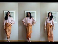 4 easy ways to wear a kain batik Kebaya Lace, Kebaya Hijab, Kebaya Dress, Batik Fashion, Hijab Fashion, Fashion Dresses, Traditional Fashion, Traditional Dresses, Model Rok