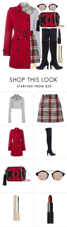 """The Sky is Gray"" by angelicachen ❤ liked on Polyvore featuring Sally Lapointe, Carven, Burberry, Stuart Weitzman, Chanel, Illesteva, Dolce&Gabbana, NARS Cosmetics, Maison Margiela and sweaterweather"