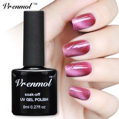 Vrenmol 1pcs UV LED Gel Cat Eye Gel Nail Polish For Gel Nail Cat Eyes Nail Polish Need Magnet UV Gel Polish Cat Eyes Nail Art