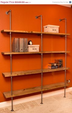 "Industrial Pipe Shelving Unit Bookcase- 72""W x 48""H Modern Industrial storage shelving shelf Industrial furniture w/ optional reclaimed wood"