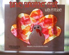 Turkey Sun catcher (thanksgiving).  Thanksgiving crafts for kids.