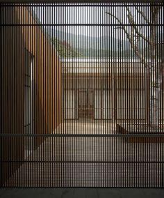 Pam -the idea of having an internal timber screen to separate areas Fine timber screen - The Screen, Li Xiaodong Atelier, China Architecture Design, Landscape Architecture, Installation Architecture, Minimalist Architecture, Futuristic Architecture, Ningbo, Timber Screens, Brick Facade, Cladding