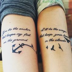 A most thorough guide on Best friend tattoos (BFF tattoos). They make a memorable gift which two friends can give to each other. Bff Tattoos, Tattoos Skull, Anchor Tattoos, Family Tattoos, Future Tattoos, Body Art Tattoos, Feather Tattoos, Tatoos, Anchor Tattoo Quotes