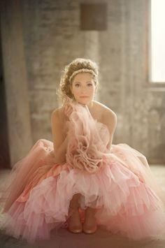 Pink Wedding Dress: I am pinning this to show to a friend. I think she'd glow in this. And I think she's absolutely right