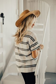 Striped Spring Relaxed Fit Top | ROOLEE