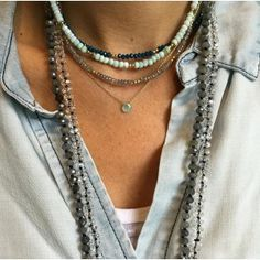 """Beaded Chokers - Our new semi precious beaded chokers are 14 inches long plus 1.5"""" extender. Available in pearl, seafoam chalcedony, mystic labradorite, fuschia chalcedony, aventurine, peruvian opal, teal chalcedony, brown quartz, chrysophase, blue moonstone, and pink opal. Shown on model in teal chalcedony, peruvian opal and mystic labradorite."""