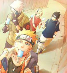 Kakashi, Sasuke, Sakura and Naruto. Naruto And Sasuke, Naruto Team 7, Naruto Fan Art, Naruto Shippuden Sasuke, Anime Naruto, Kakashi Sensei, Naruto Sasuke Sakura, Naruto Cute, Naruto Funny