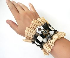 Steampunk Bracelet Wrist Cuff with Striped Fabric and by Elyseeart
