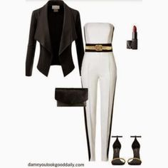 7 Killer Black and White Outfit Ideas, Fashion, Style, Date Night, Party Outfit, Summer, Fall, Spring, Summer, Jumpsuit, YSL Sandals, Nars Makeup