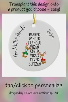 Christmas Funny Reindeer Names Covid 2020 Custom Ceramic Ornament - tap, personalize, buy right now! #CeramicOrnament #holiday, #christmas, #ornament, #2020, #coronavirus, Christmas Humor, Christmas And New Year, Christmas Holidays, Christmas Ornaments, Reindeer Names, The Dancer, New Year Greetings, New Year Gifts, Tree Designs
