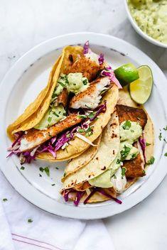 Blackened Fish Tacos with Creamy Avocado Sauce | foodiecrush.com