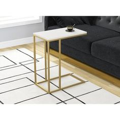 Zigler Accent Metal Frame End Table Table Base Color: Gold, Table Top Color: White White Table Top, Black Table, Silver Table, Gold Table, Reclaimed Wood Table Top, C Table, Table Lamp, Etagere Bookcase, End Tables With Storage