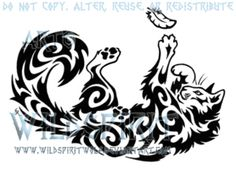 Playful Cat And Feather Tattoo by WildSpiritWolf