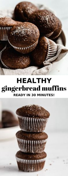 These heathy gingerbread muffins are easy to make and come together in just 30 minutes! These heathy gingerbread muffins are easy to make and come together in just 30 minutes! New Year's Desserts, Tolle Desserts, Lemon Desserts, Healthy Dessert Recipes, Christmas Desserts, Holiday Foods, Cookie Recipes, Breakfast Recipes, Vegan Recipes