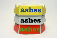 3 Pop Art ASHES Ashtray Set Vintage New Stock Signed by PRIDE Creations Op Art Vintage 1960s Smoking Ash Bowl Mid Century Modern Panton Era