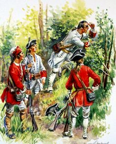 French infantry and skirmishers scouting in North America during the Seven Years War- by Rousselot