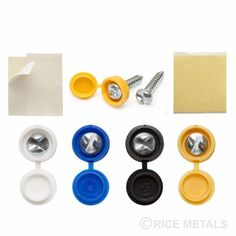 SECURITY (Tamper-proof) CAR NUMBER PLATE FASTENERS WHITE BLUE BLACK YELLOW CAPS