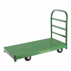 Platform Truck, Cap 2000 Lb, 30x60 by Fairbanks. $472.25. Platform Truck, Load Capacity 2000 lb., Overall Length 60 In., Overall Width 60 In., Overall Height 33-5/8 In., Deck Length 60 In., Deck Width 30 In., Deck Height 10-7/8 In., Gauge 14, Powder Coat Finish, Handle Type 1-5/16 In. Steel Tube, Color Green, Includes 4 Casters and Removable Handle