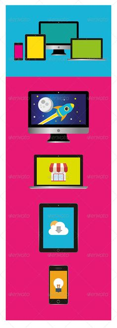 This set contains flat-based design of the four Apple products (iMac, Mac Book Pro, iPad and iPhone)  Vector version .ai .eps and