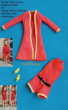 Vintage Clone Mod Tangerine Outfit for Miss Suzette Doll or same like body dolls