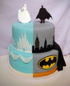 Batman / Cinderella Cake For Twins Bottom tier is supposed to mimic their outfits. Middle tier is landscape/scene. Top is character. Half Birthday Cakes, Birthday Cake For Twins, Sibling Birthday Parties, Joint Birthday Parties, Batman Wedding Cakes, Cakes For Boys, Cakes For Twins, Twins Cake, Cupcake Cakes