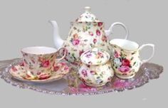 This classic Antique Rose Bone China Tea Set is the perfect accessory for a quiet afternoon tea.