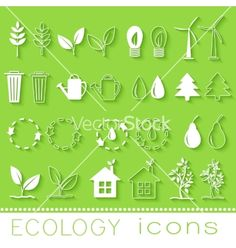 Flat design of ecology environment green clean vector  by ChocoStar on VectorStock®