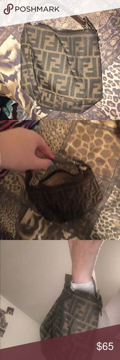 Fendi Bag Monogram Small brown Fendi monogram Bag. Outside is in good condition. Inside shows signs of major wear. Fendi Bags Mini Bags