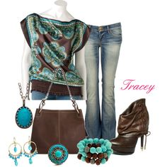 """""""Turquoise and brown"""" by tracey-puckett on Polyvore"""