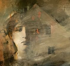 "Longing-collage by Joan Fullerton Mixed Media ~ 7.5 x 7.5-Contemporary Mixed Media Art Painting, Fine Art For Sale, Portrait Collage,House ""Longing"" by Intuitive Artist Joan Fullerton"