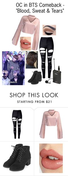 """""""OC in BTS Comeback - """"Blood, Sweat & Tears"""""""" by cbwilliams2002 on Polyvore featuring WithChic, Topshop and Charlotte Tilbury"""