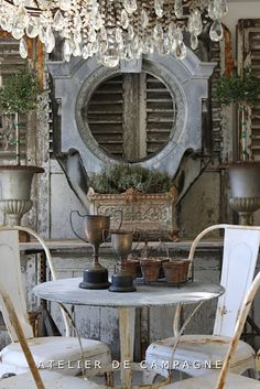 Atelier de Campagne - Home - create an interesting backdrop for an outdoor table setting how about the wall against your shed? French Country Cottage, French Country Style, French Farmhouse, Rustic French, French Decor, French Country Decorating, Shabby Chic Decor, Vintage Decor, Vintage Clocks