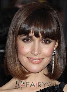 Rose Byrne Hairstyle Short Straight Capless Human Hair Bob Wigs for Women >>