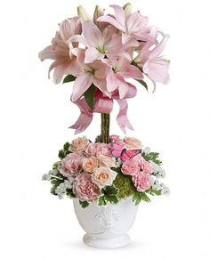 Order Blushing Lilies flower arrangement from Michael Thomas Floral, your local Allentown, PA florist. Send Blushing Lilies floral arrangement throughout Allentown and surrounding areas. Church Flowers, Funeral Flowers, Wedding Flowers, Fresh Flowers, Silk Flowers, Spring Flowers, Lilies Flowers, Tropical Flowers, Easter Flowers