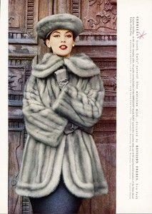 REVILLON FURS Ad 1956 Blue Mink and Matching Hat..........those were the days when you could wear fur as a fashion statement