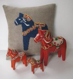 Blue Wool Dala Horse Pillow Hooked Rug