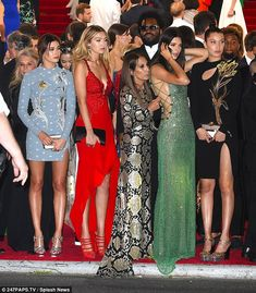 Model pals: Kendall Jenner joined forces with (from left to right) Hailey Baldwin, Gigi Hadid and Bella Hadid