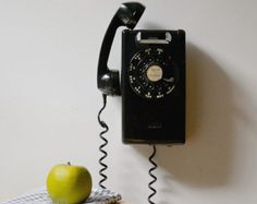 rotary phone rocky mount bell | Vintage black rotary wall phone; re tro wall mount telephone ...