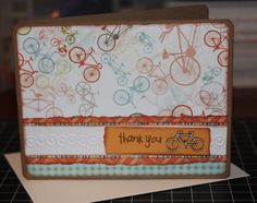 Handmade Thank You Card Note Thanks Bicycle Bike Cycling Bright Fun Blank Inside (No. 208)
