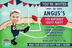 Personalise these AFL birthday invitations with your favourite teams colours. We'll change you child into a star player.