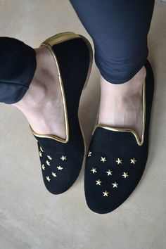 SALE Women Loafers Leather black golden stars  by holacrystal, $59.00