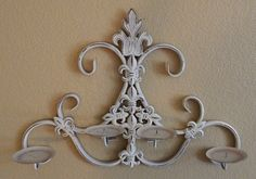 Antique White Shabby Chic Wrought Iron Wall Decor by ForgetMeNotsCottage on Etsy https://www.etsy.com/listing/202121517/antique-white-shabby-chic-wrought-iron