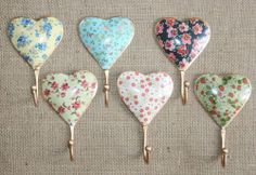 Shabby Vintage Chic Style Metal Hooks Heart Ditsy Floral Country Cottage