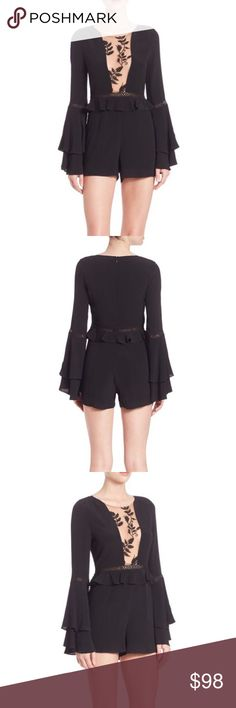 NWT Emelia Long Sleeve Ruffled Romper NWT For Love & Lemons Emelia Long Sleeve Ruffled Romper! Purchased in the wrong size and now it's too late to return. Perfect condition! Size Small will probably fit a 0-2 and it is narrow in the hips. For Love and Lemons Dresses Long Sleeve