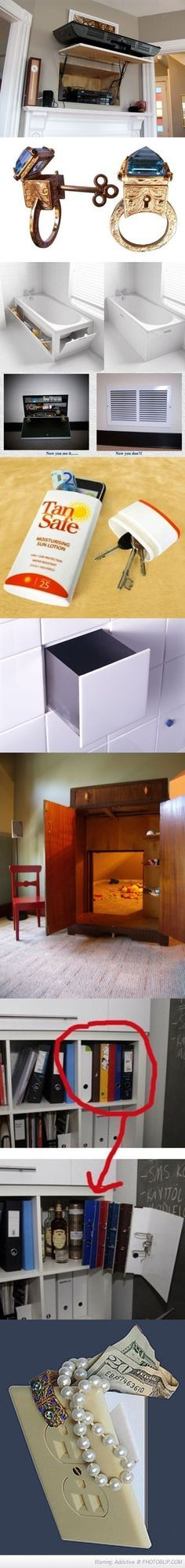 Awesome hiding places! TV GENIUS!!!! TUB GENIUS!!!!