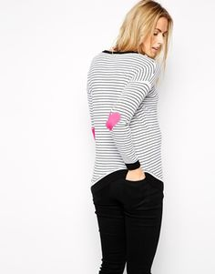 Maternity Stripe Sweater With Heart Elbow Patch