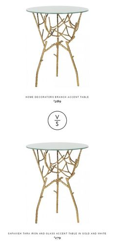 Home Decorators Branch Accent Table $289 Vs @cymax  Safavieh Tara Iron And Glass Accent Table In Gold And White $179